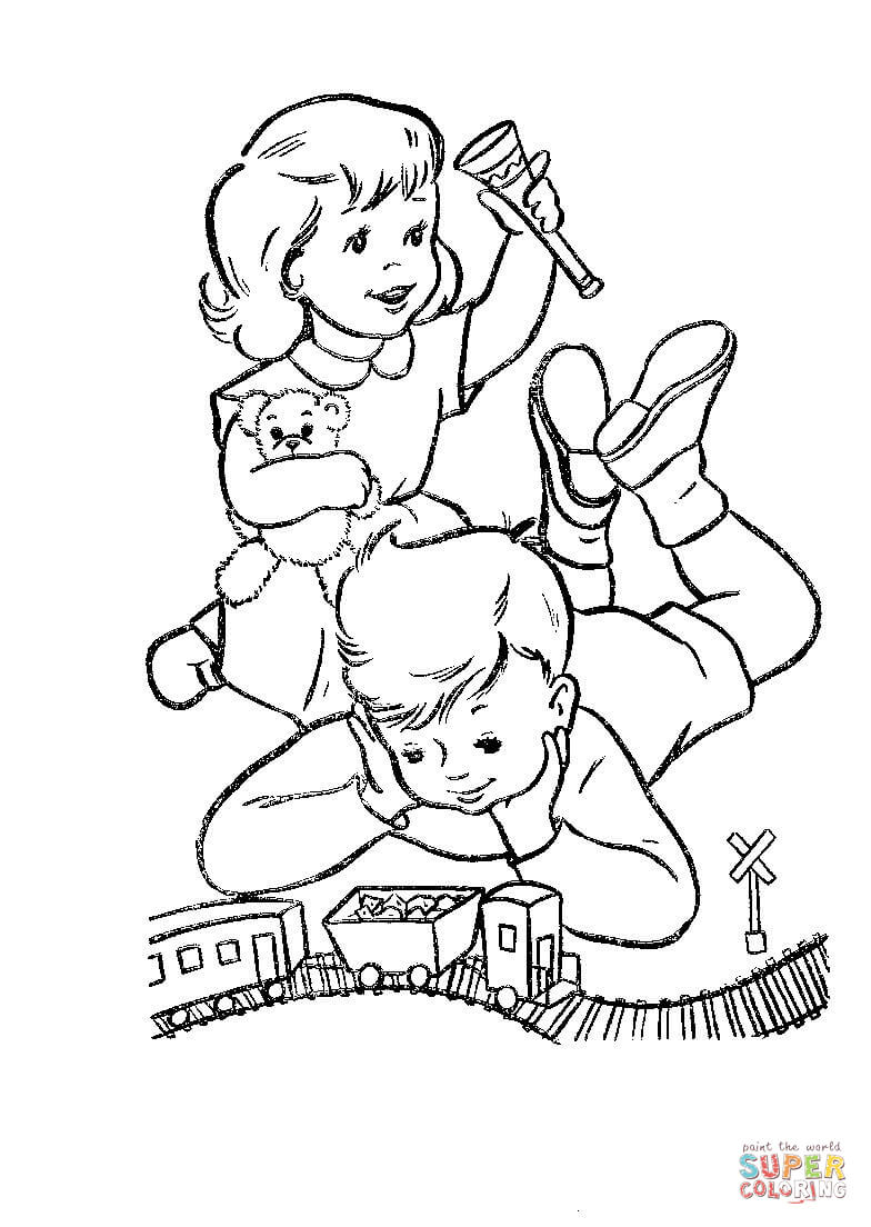 June Coloring Pages Dick And June Play With Their Toys Coloring Page Free Printable