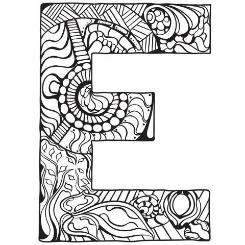 Letter Coloring Pages Letter E Zentangle Coloring Page Free Printable Coloring Pages