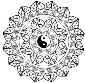 Mandala Coloring Page Mandala Yin Yang Malas Adult Coloring Pages