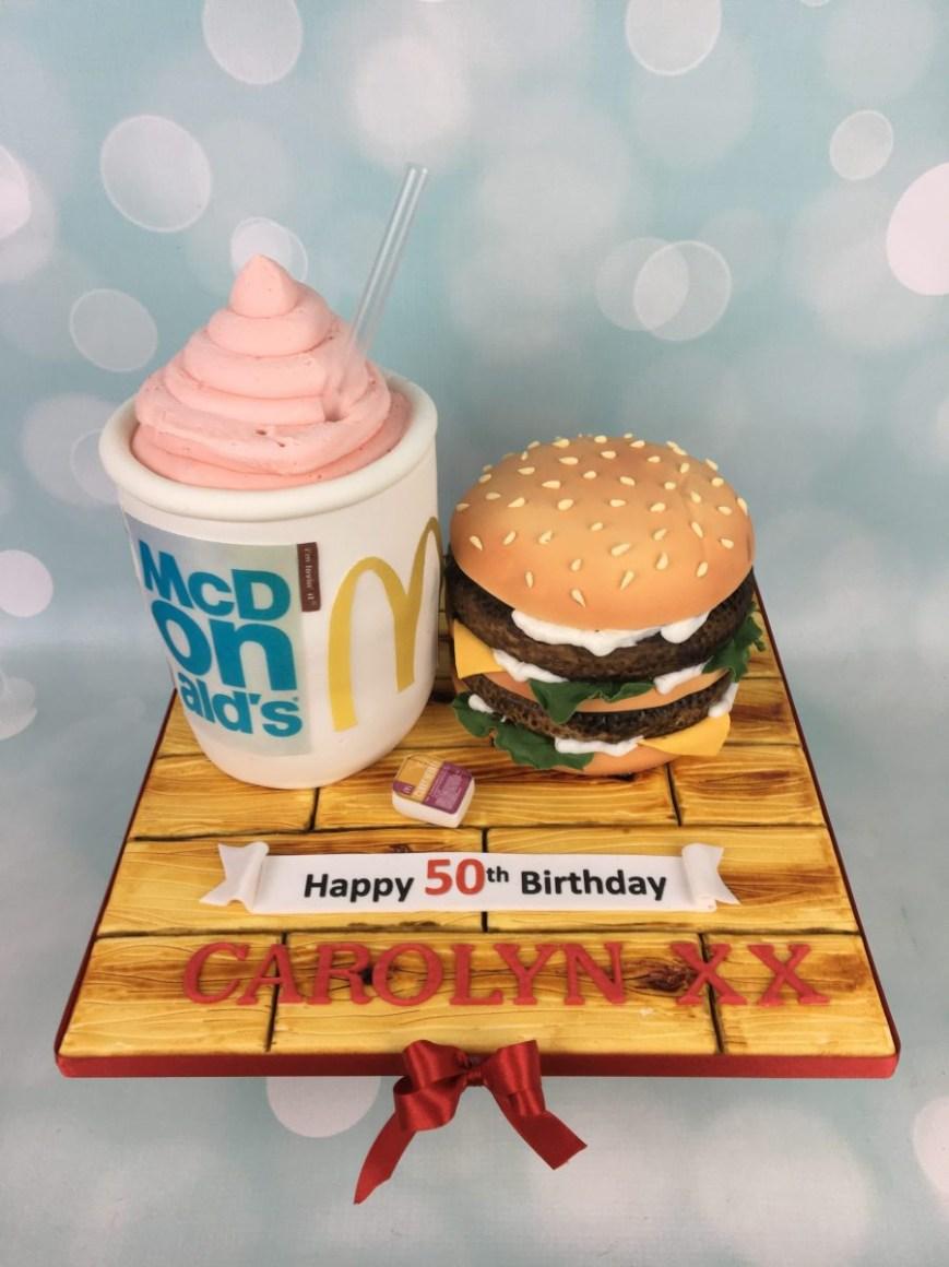 Mcdonalds Birthday Cake Mcdonalds Burger Cake Mels Amazing Cakes