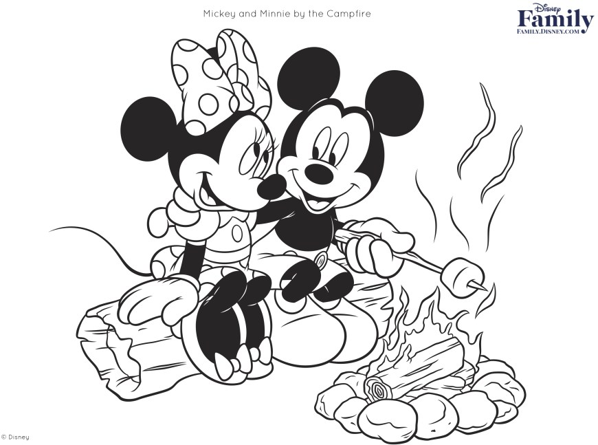 Mickey And Minnie Coloring Pages Disney Coloring Pages Disney Family