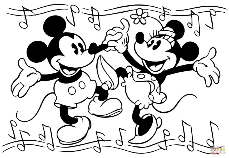 Mickey And Minnie Coloring Pages Minnie And Mickey Mouse Are Dancing Coloring Page Free Printable