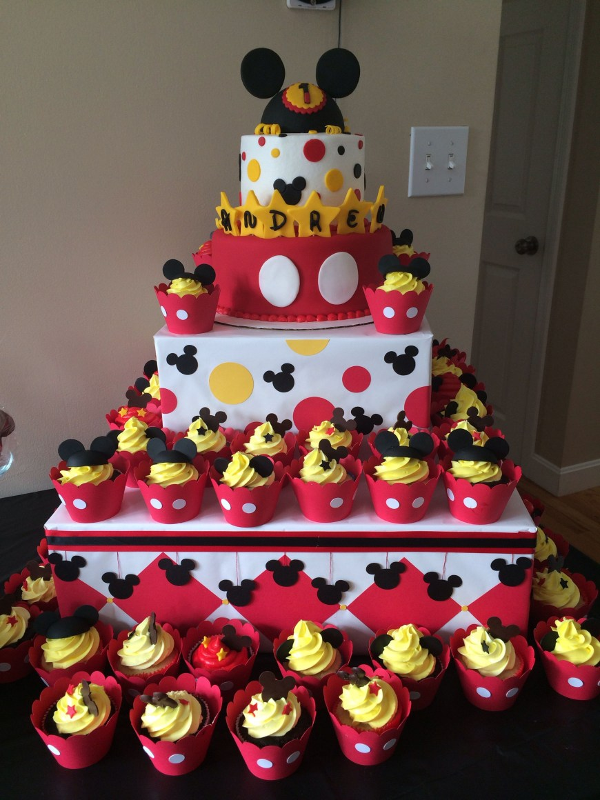 Mickey Birthday Cake Mickey Mouse First Birthday Cake Cake Hob Pinterest Mickey