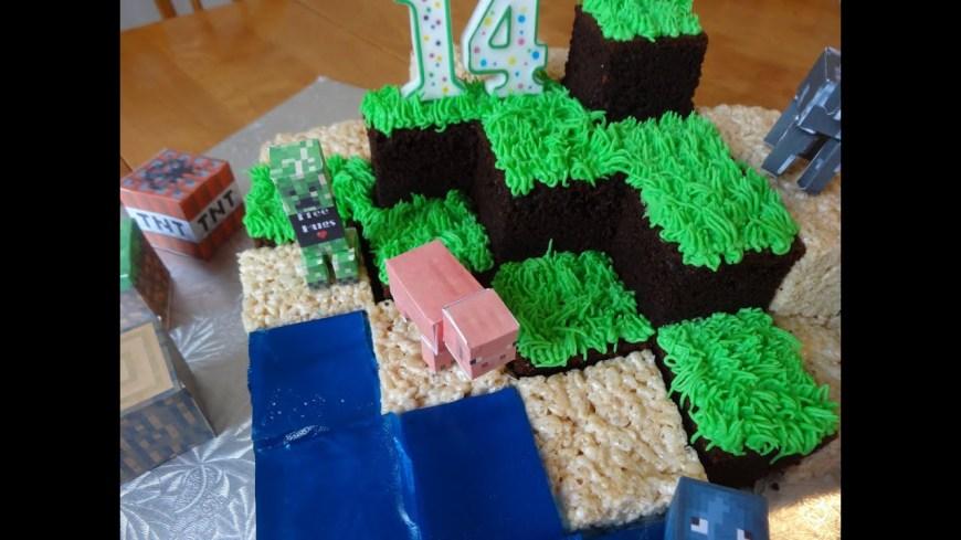Minecraft Birthday Cake Ideas How To Make A Minecraft Cake With Yoyomax12 Youtube