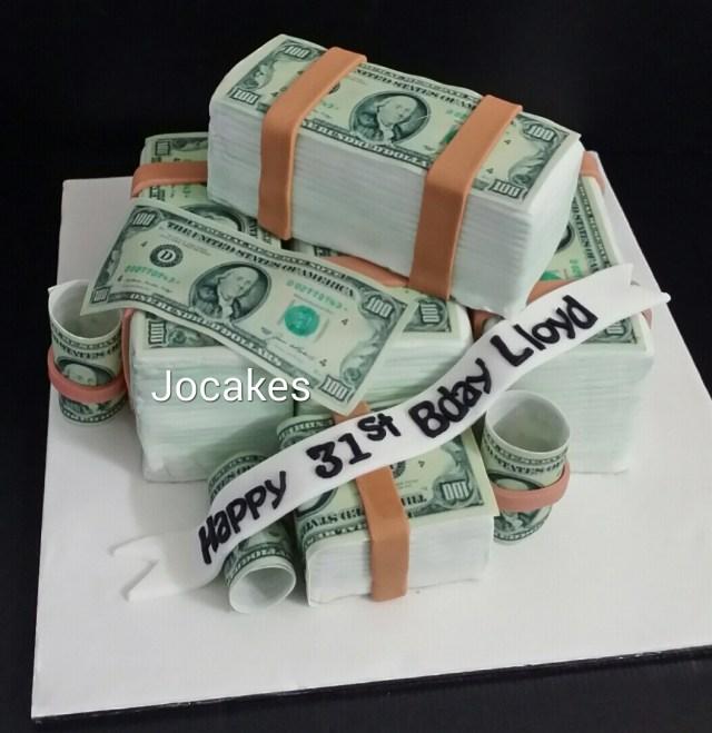 Money Birthday Cake Us Dollar Money Cake For Lloyds 31st Birthday Jocakes