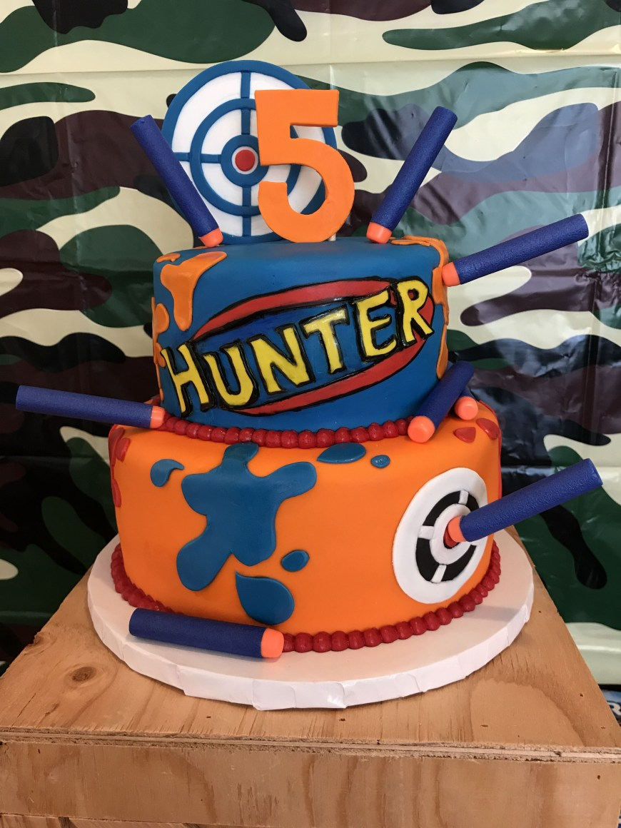 Nerf Birthday Cake Amazing Nerf War Cake For My Son Hunters 5th Birthday Party Made