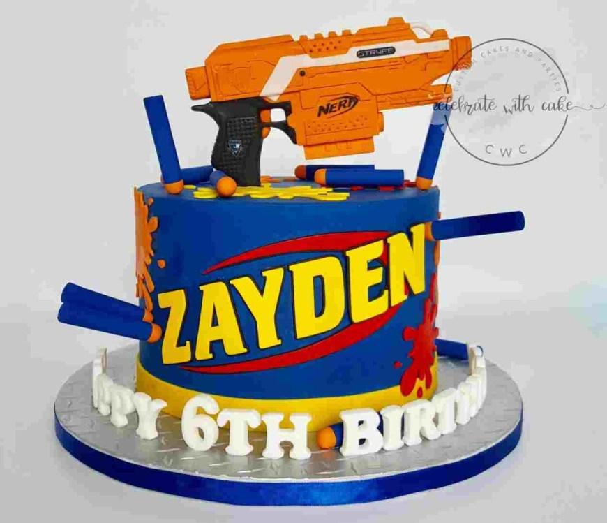 Nerf Birthday Cake Made Rhpinterestcom S Kristen H Battle Rhskristenhblogspotcom S