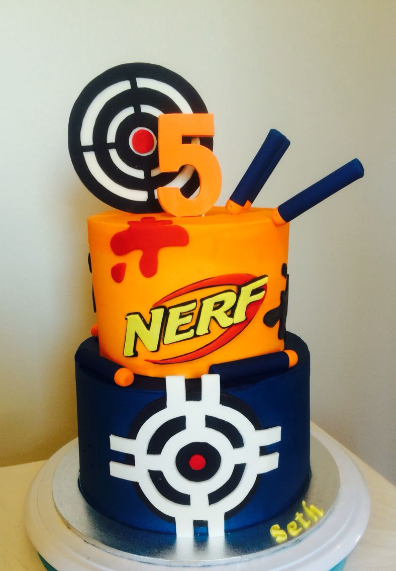 Nerf Birthday Cake Nerf Birthday Cake Buttercream Icing Targets And Bullets Etc Made
