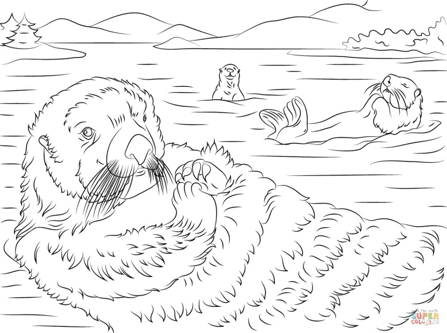 Otter Coloring Pages Cute Sea Otters Coloring Page Free Printable Coloring Pages