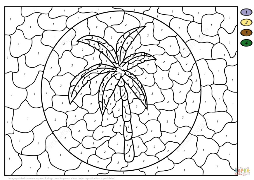 Palm Tree Coloring Page Palm Tree Color Number Free Printable Coloring Pages