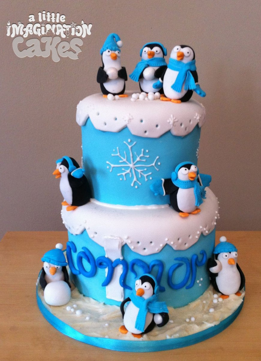 Penguin Birthday Cake Penguin 1st Birthday Cake A Little Imagination Cakes Kids