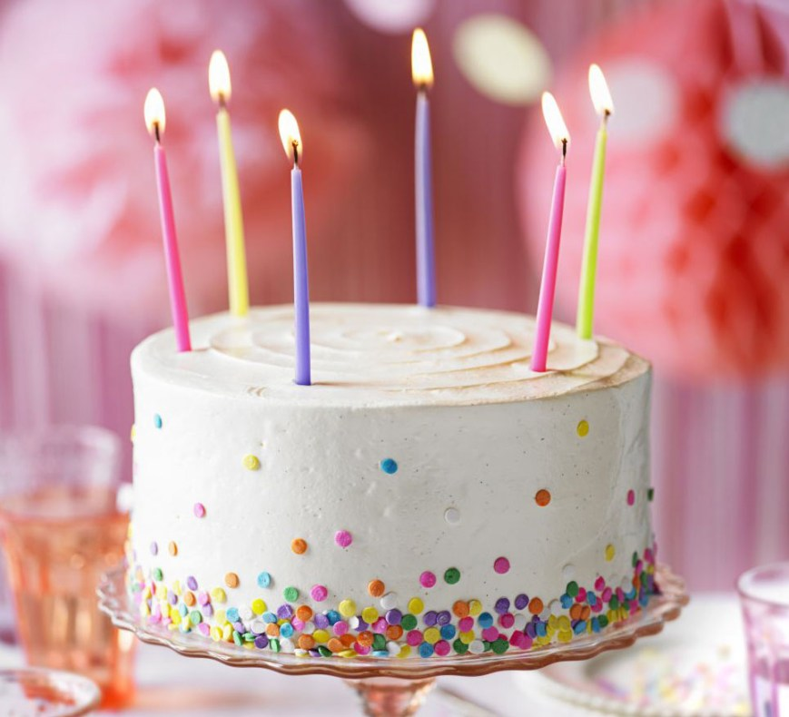 Picture Of Birthday Cake Vanilla Party Cake Recipe Bbc Good Food