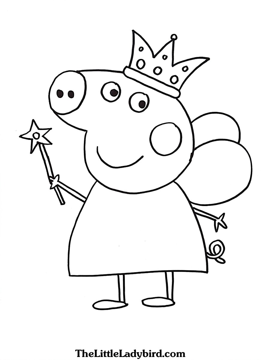 Pig Coloring Page Free Peppa Pig Queen Coloring Page Thelittleladybird