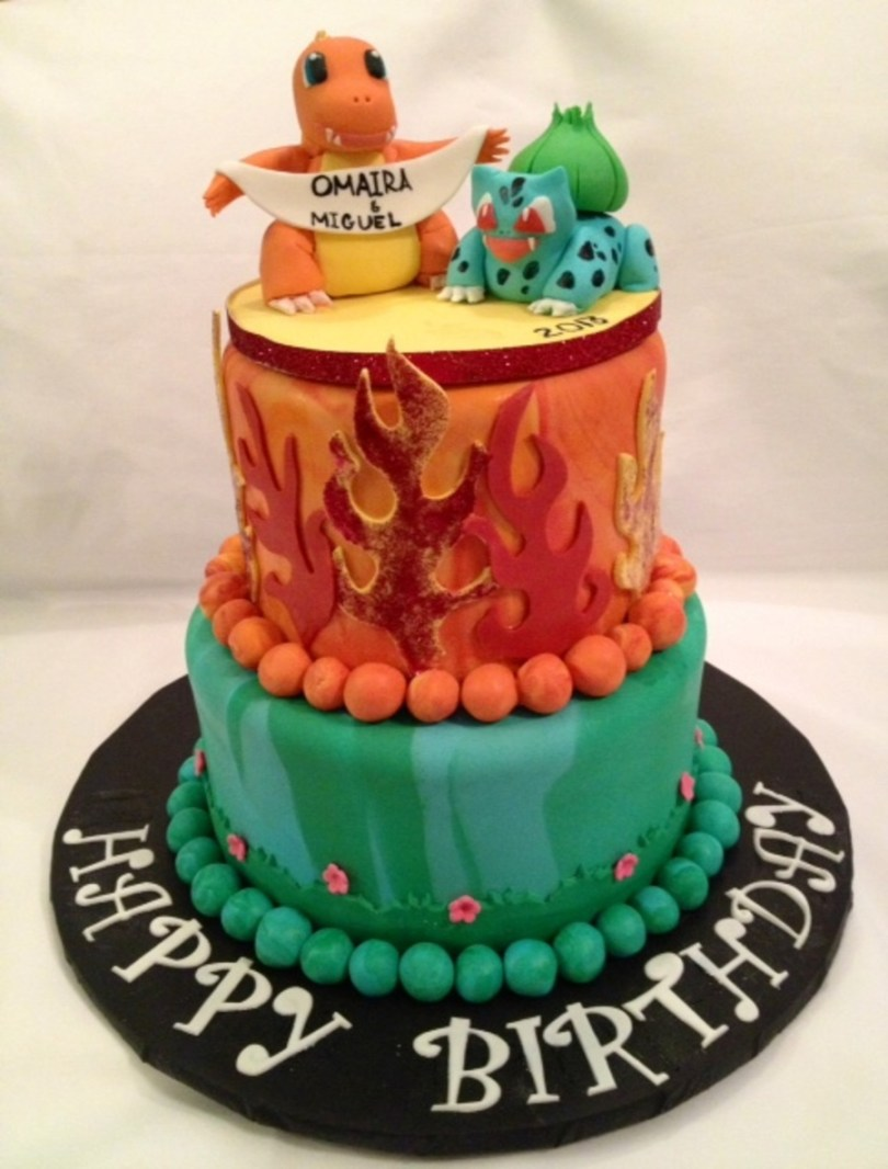 Pikachu Birthday Cake Pokemon Birthday Cakecharmander And Baulbasaur Cakecentral