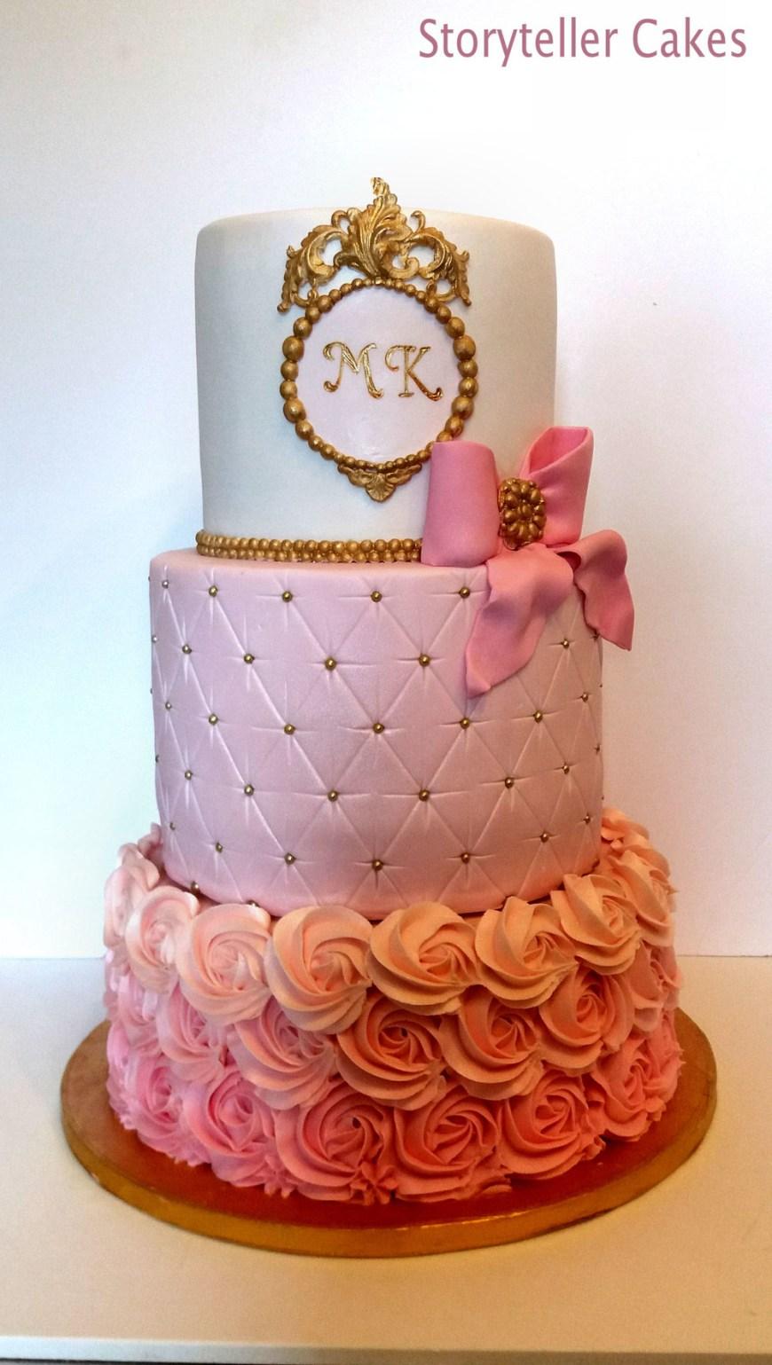 Pink And Gold Birthday Cake Christening Ba Shower Cakes Storyteller Cakes