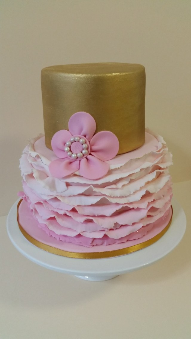 Pink And Gold Birthday Cake Gold And Pink Birthday Cake Smooth Gold Top Tier With Ombre Ruffles