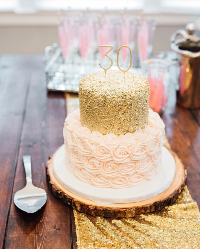 Pink And Gold Birthday Cake Nashville Sweets Blush Pink Rosettes Gold Sequin Birthday Cake