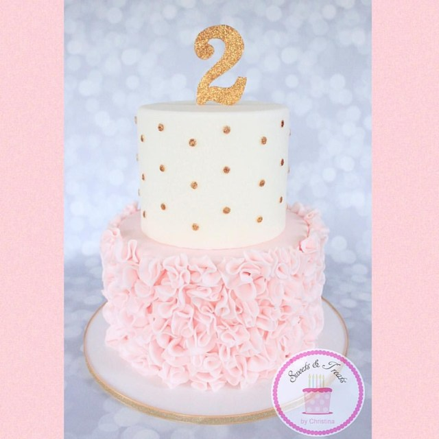 Pink And Gold Birthday Cake Pink Ruffles And Gold Polka Dots Cake Christina Hagen On Instagram
