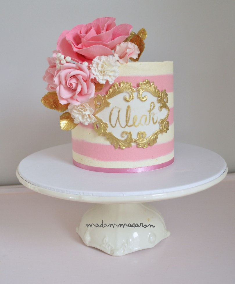 Pink And Gold Birthday Cake White And Pink Buttercream Striped Cake With A Hand Painted Name