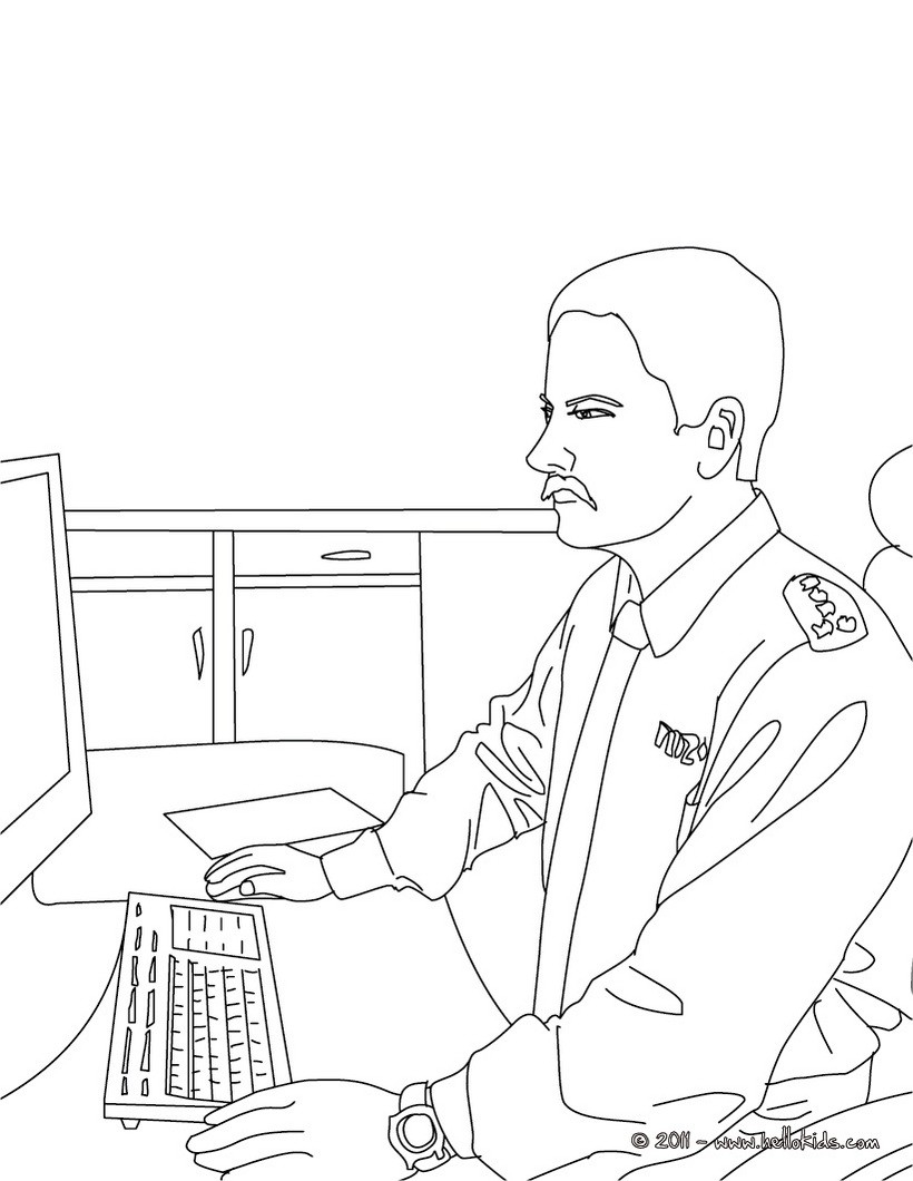 Police Officer Coloring Pages Policeman At The Police Station Coloring Pages Hellokids