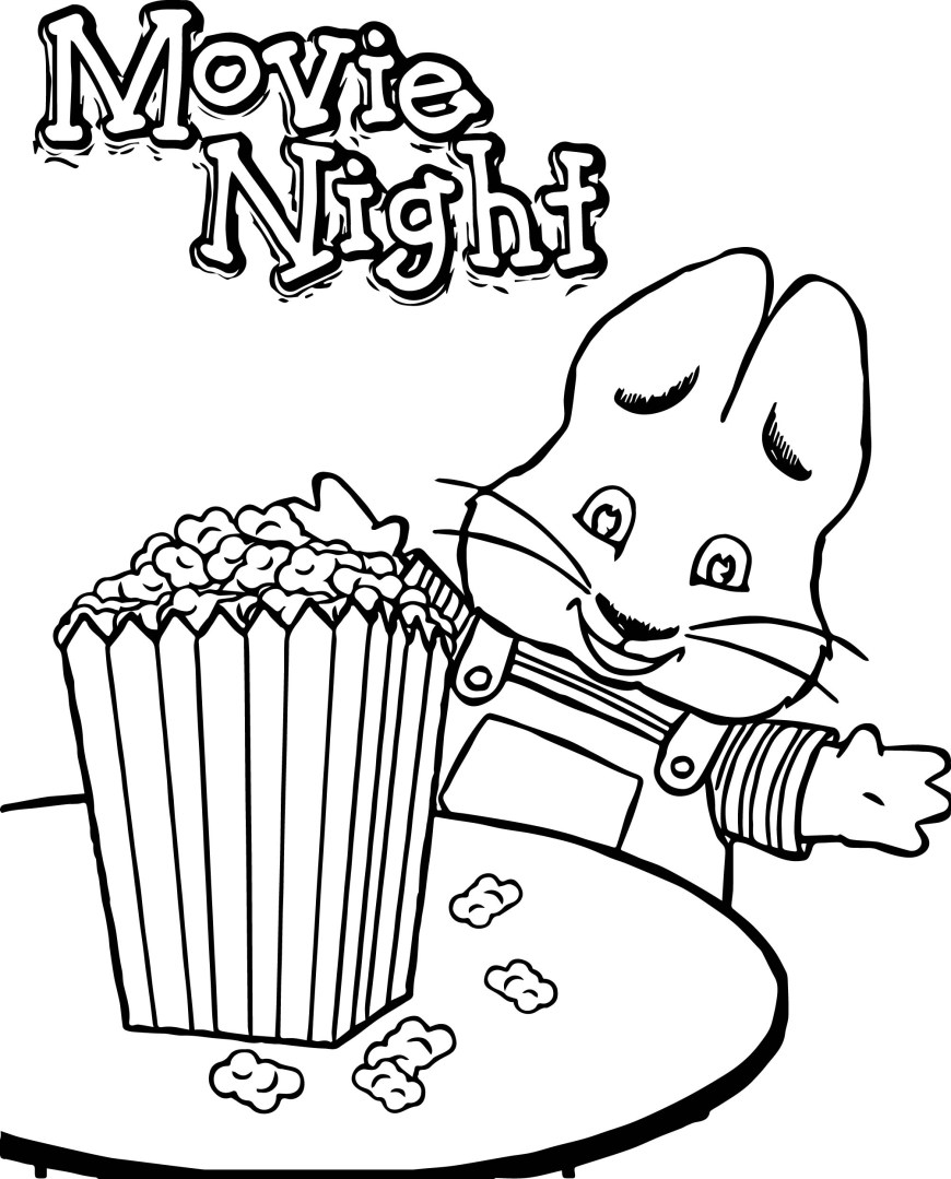 Popcorn Coloring Page Max Ru Movie Night Eat Popcorn Max And Ru Coloring Page