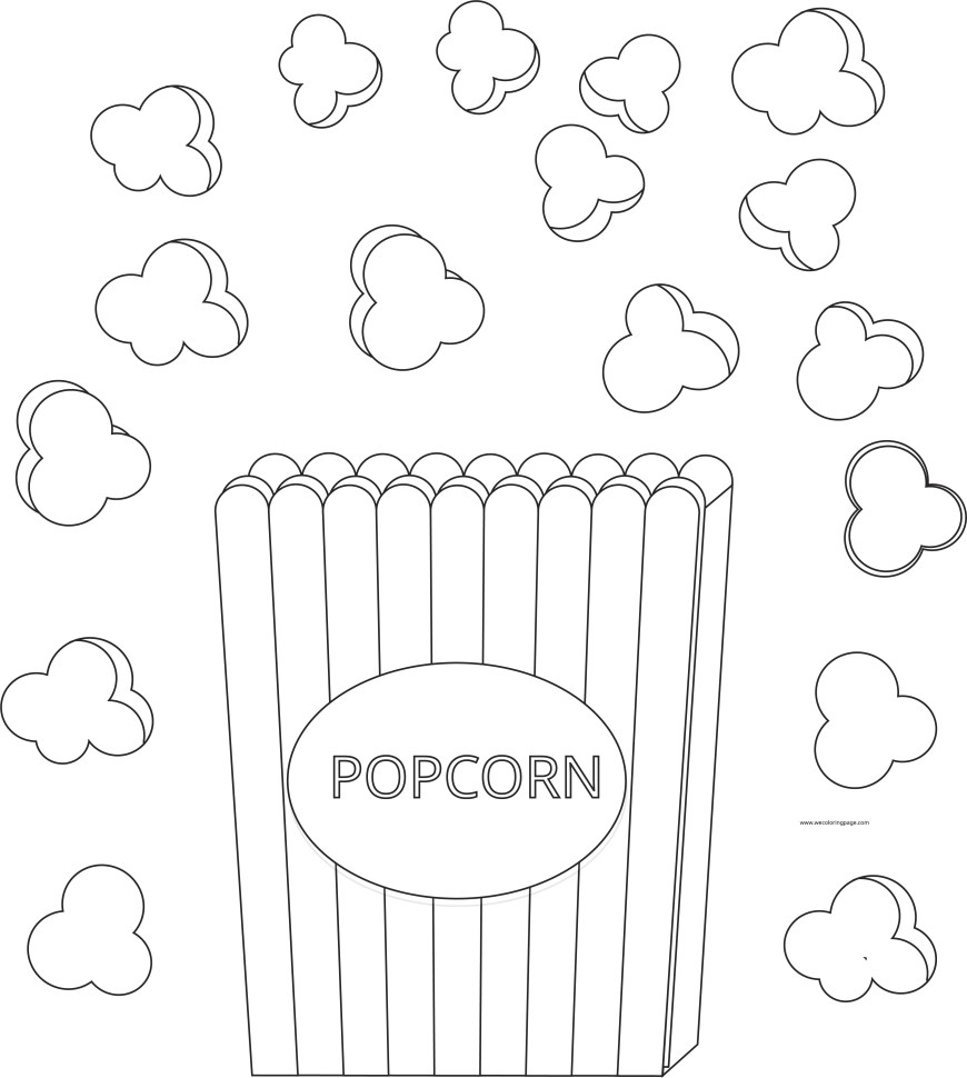 Popcorn Coloring Page Popcorn And Box Coloring Page Wecoloringpage