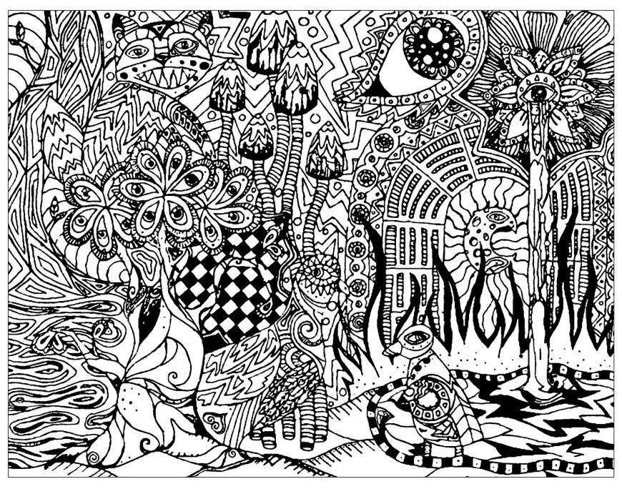 Psychedelic Coloring Pages Free Psychedelic Coloring Pages For Adults Printable Coloring Page
