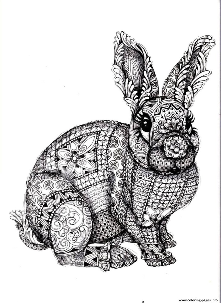 Rabbit Coloring Pages Adult Difficult Rabbit Coloring Pages Printable