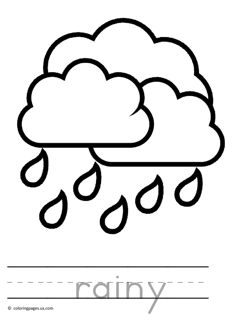 Rain Coloring Page Rain Coloring Pages For Kids And For Adults Coloring Home