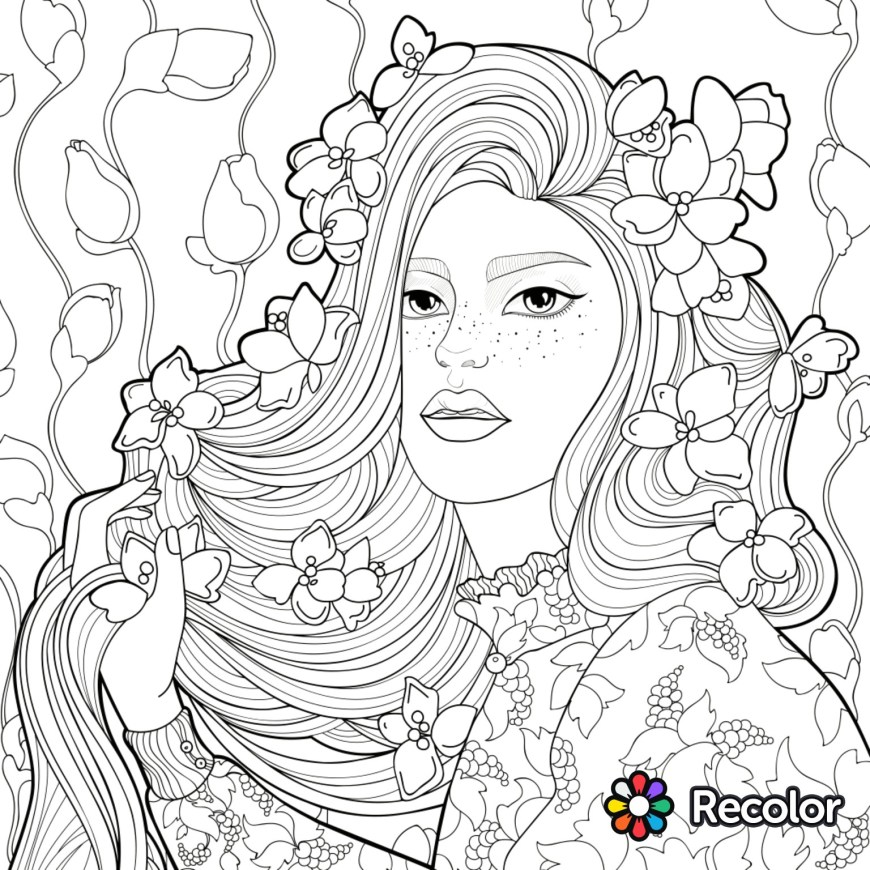 Recolor Coloring Pages Recolor Coloring Pages Adult Hair Nazly Me 15361536 Attachment