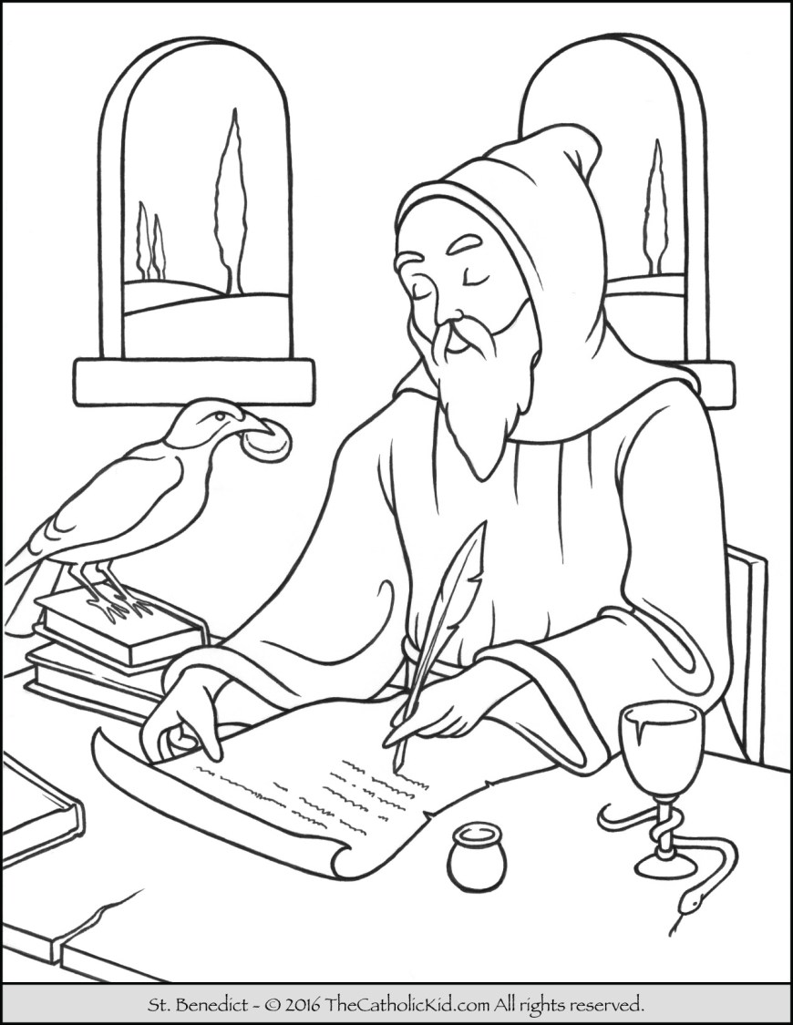 Saint Coloring Pages Saint Benedict Coloring Page The Catholic Kid