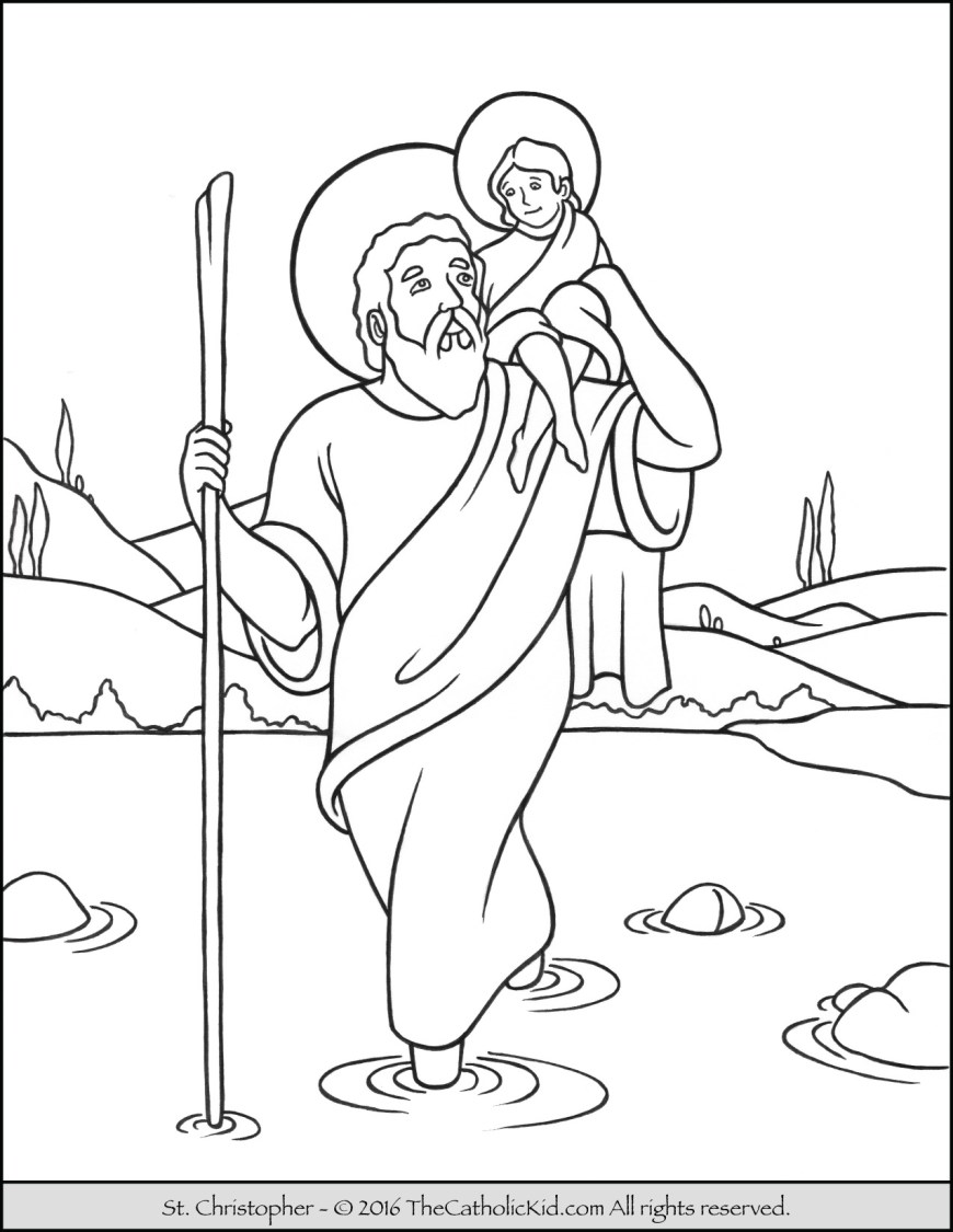 Saint Coloring Pages Saint Christopher Coloring Page The Catholic Kid
