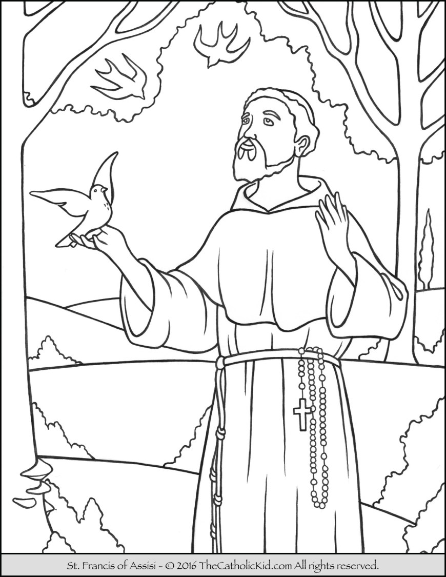 Saint Coloring Pages Saint Francis Coloring Page