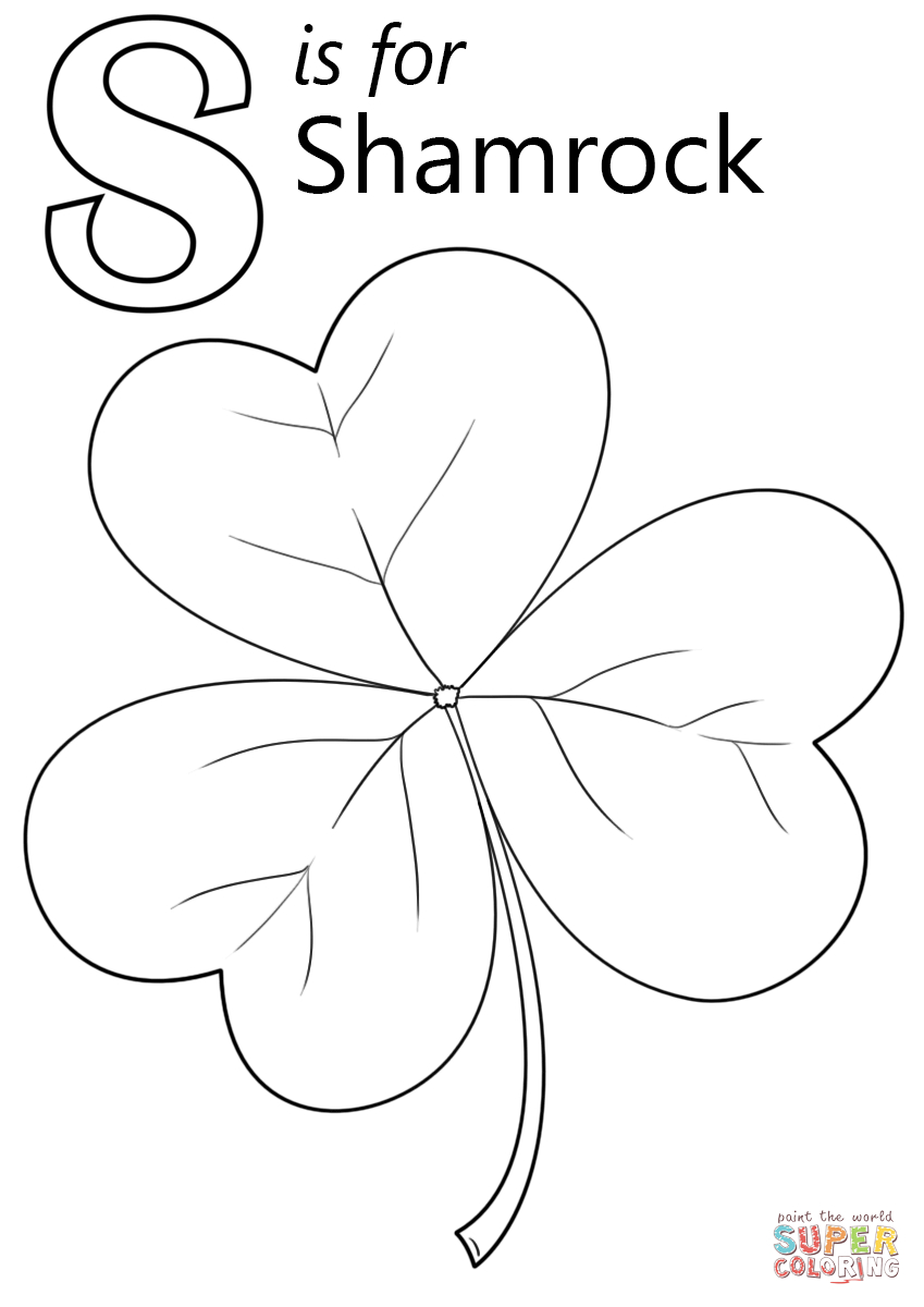 Shamrock Coloring Pages Letter S Is For Shamrock Coloring Page Free Printable Coloring Pages