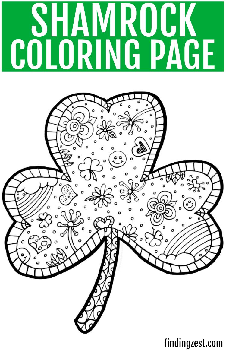 Shamrock Coloring Pages Shamrock Coloring Page Free Printable Finding Zest