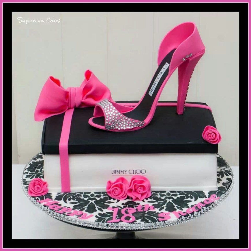 Shoe Birthday Cake Pink Black Jimmy Choo Shoe Cake Cake Decorating Ideas