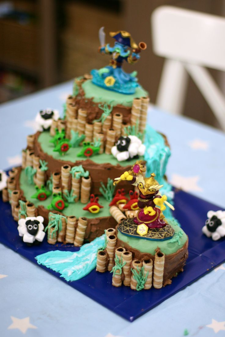 Skylander Birthday Cake Skylander Birthday Cake Features 4 Levels River Bridge Sheep