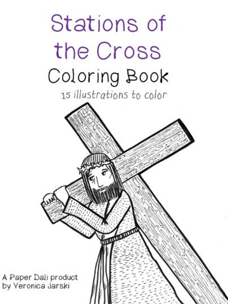 Stations Of The Cross Coloring Pages Stations Of The Cross Coloring Book Printable Etsy