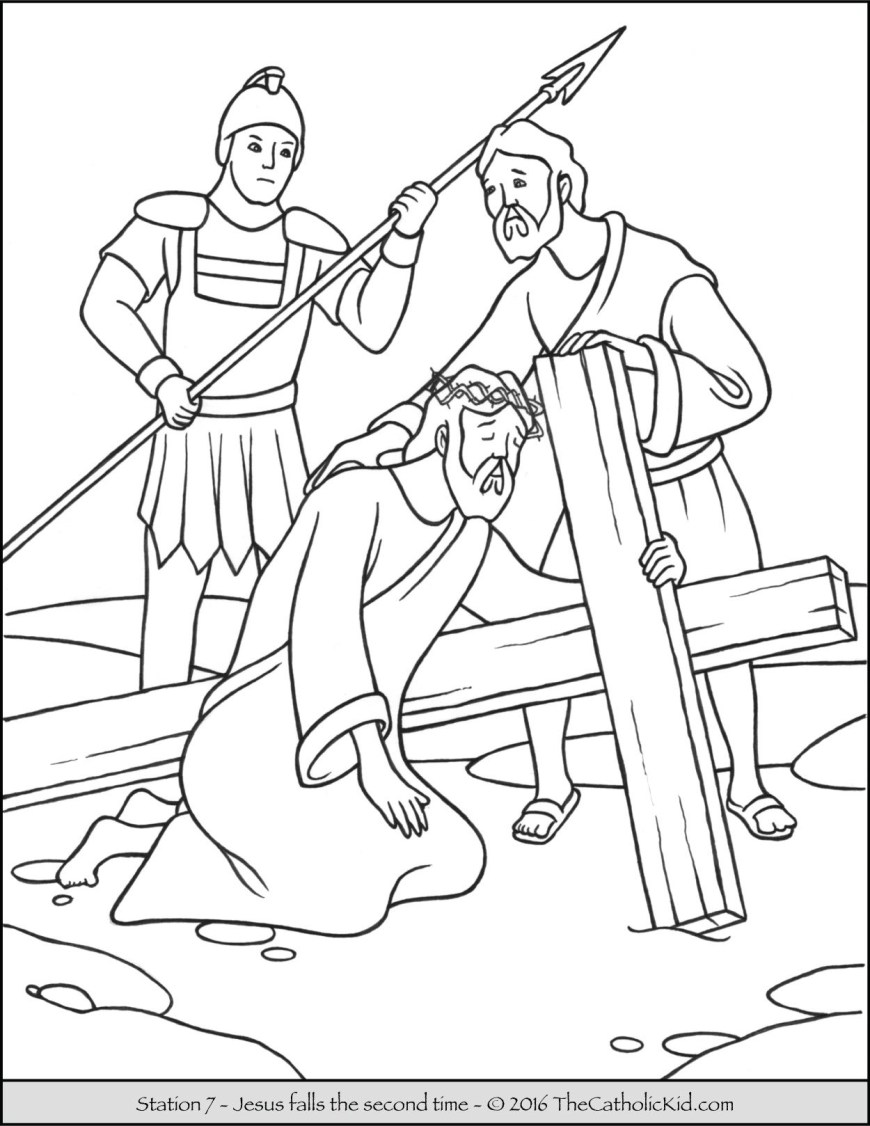 Stations Of The Cross Coloring Pages Stations Of The Cross Coloring Pages 7 Jesus Falls The Second Time
