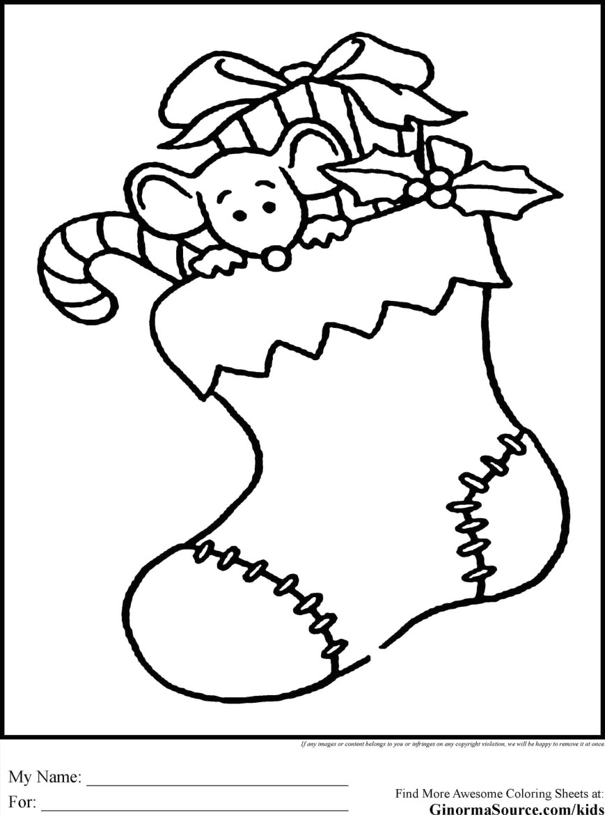 Stocking Coloring Page Stocking Coloring Page At Getdrawings Free For Personal Use