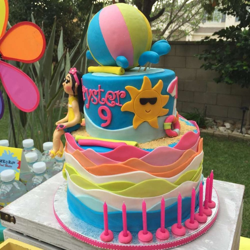 Summer Birthday Cakes Swimmingpoolsummer Party Summer Party Ideas Pool Party Party