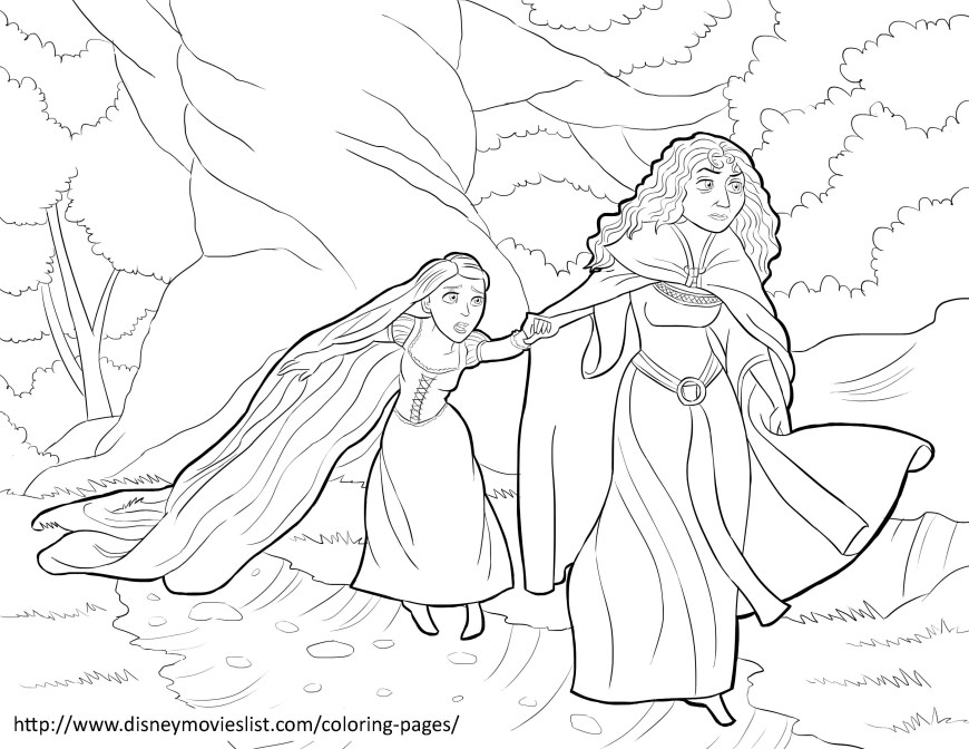 Tangled Coloring Pages Printable Mother Gothel And Tangled Coloring Page Sheet Ba