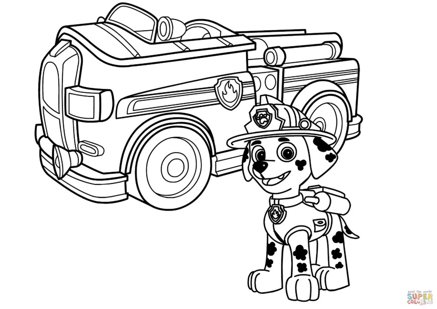 Trucks Coloring Pages Paw Patrol Marshall With Fire Truck Coloring Page Free Printable