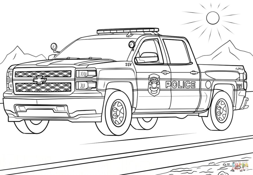 Trucks Coloring Pages Police Truck Coloring Page Free Printable Coloring Pages