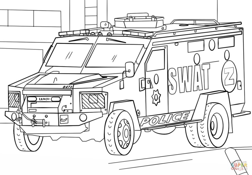Trucks Coloring Pages Swat Truck Coloring Page Free Printable Coloring Pages