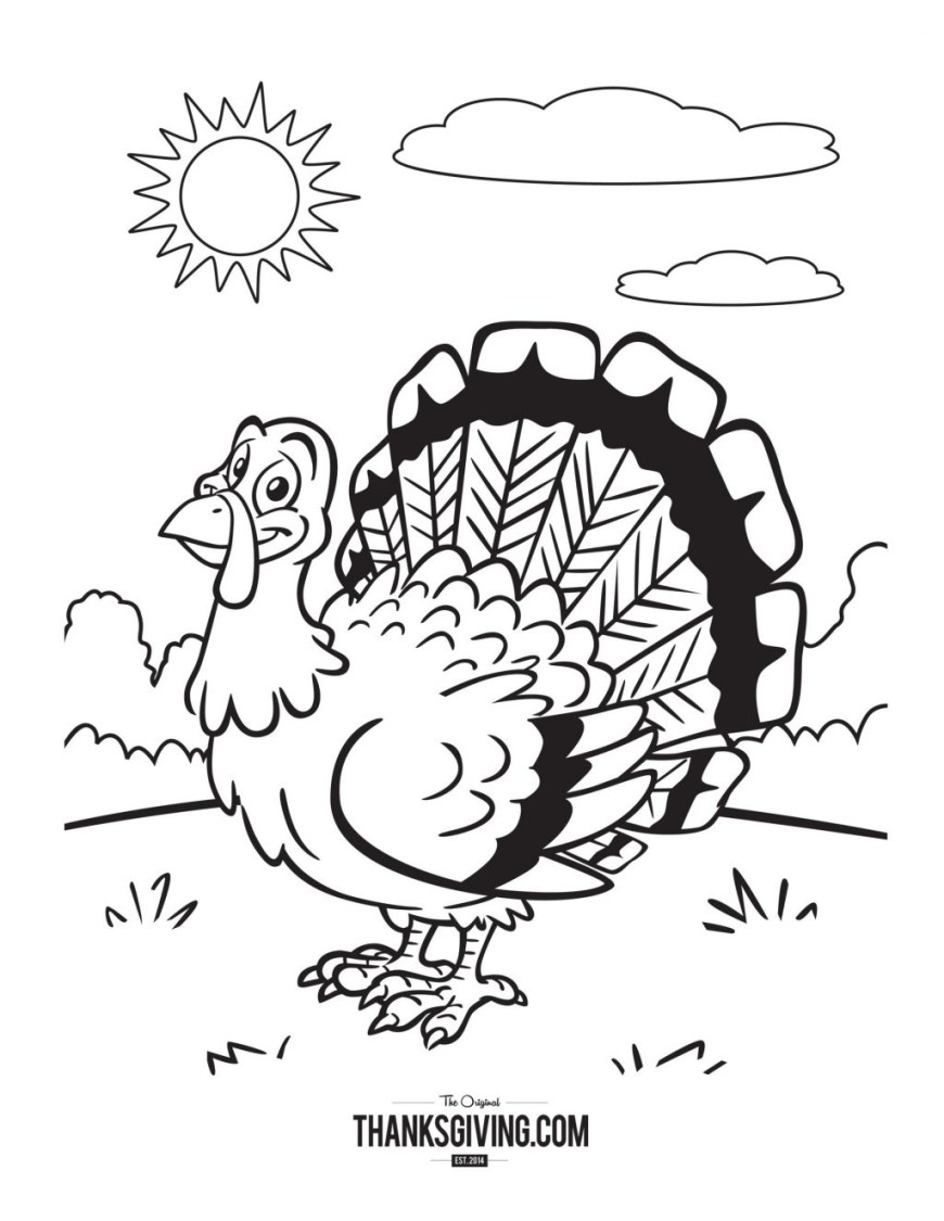 Turkey Coloring Pages Coloring Page Thanksgiving Coloring Book Sunny Turkey Page Pages