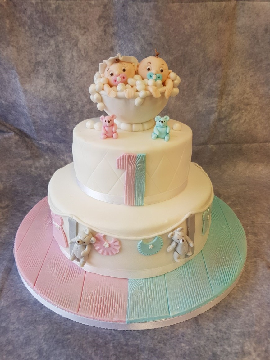Twins Birthday Cake 2 Tire Birthday Cake For Twins Ravens Bakery Of Essex Ltd