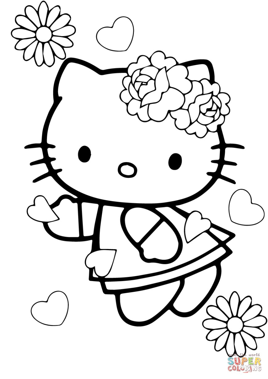 Valentine Day Coloring Pages Valentines Day Hello Kitty Coloring Page Free Printable Coloring