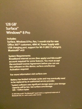 128 GB Surface Windows 8 Pro Box