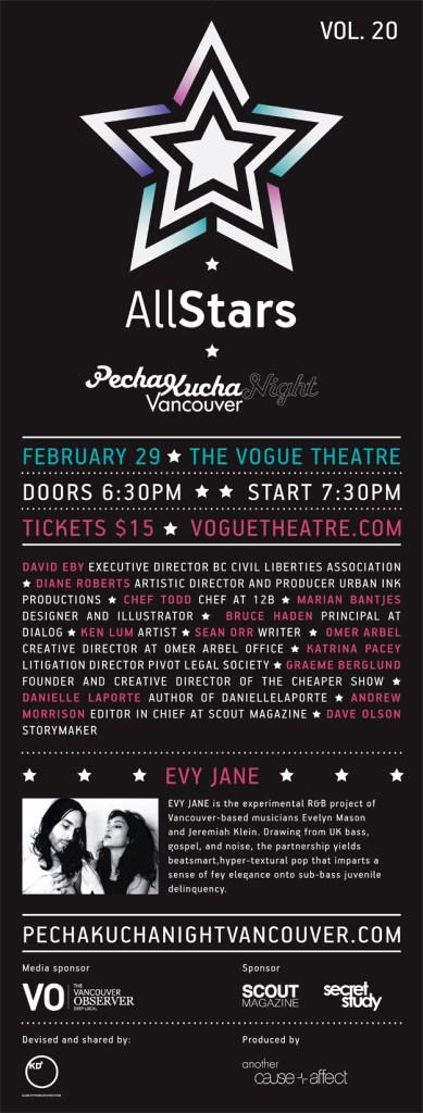 Pecha Kucha Night Vancouver, All Star Edition Poster